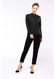 Ladies' long-sleeved mandarin collar shirt