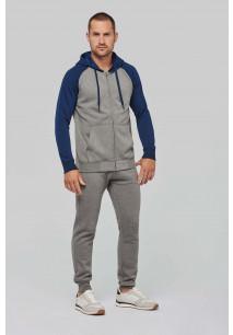 Unisex two-tone zipped hooded fleece jacket