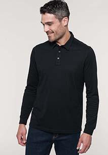 Men's long sleeved jersey polo shirt