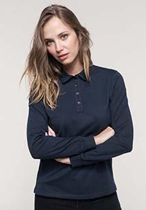 Ladies' long sleeve jersey polo shirt