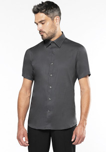 Men's fitted short-sleeved non-iron shirt