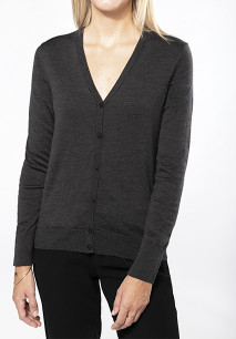 Ladies' merino wool button front cardigan
