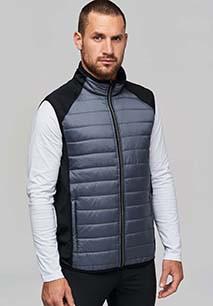 Dual-fabric sleeveless sports jacket