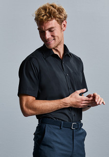 Men's Short-Sleeved Polycotton Poplin Shirt