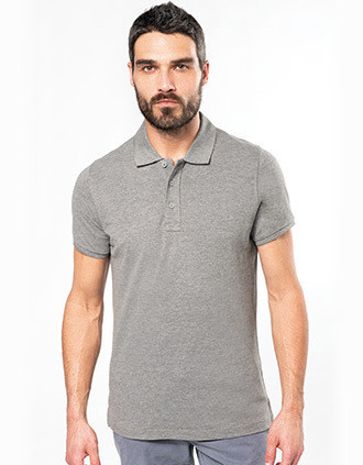 Men's organic piqué short-sleeved polo shirt