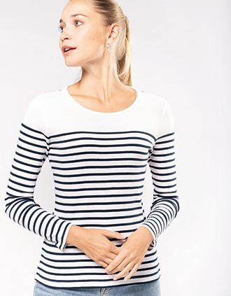 Ladies' long-sleeved Breton stripe top