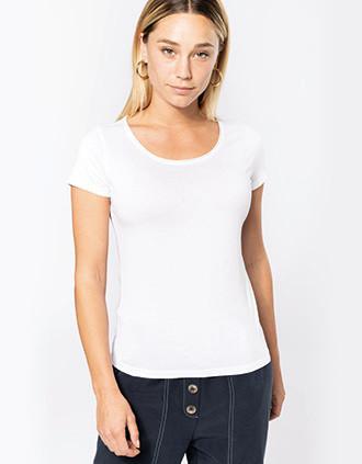 Ladies' short-sleeved organic t-shirt with raw edge neckline