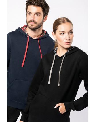 Unisex contrast patterned hooded sweatshirt
