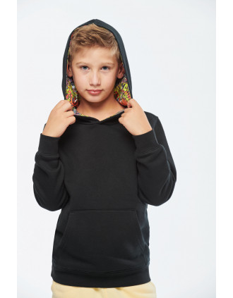 Unisex kids contrast patterned hooded sweatshirt