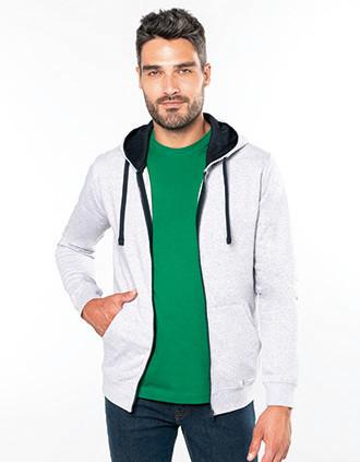 Men's contrast hooded full zip sweatshirt