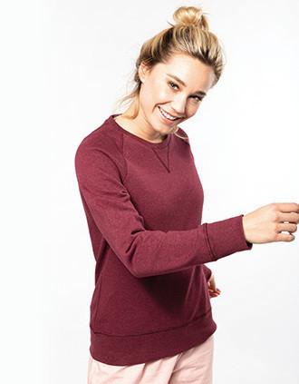 Ladies' organic cotton crew neck raglan sleeve sweatshirt