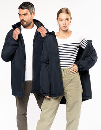 Recycled hooded parka