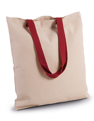 FLAT CANVAS SHOPPER WITH CONTRAST HANDLE