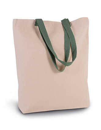 SHOPPER BAG WITH GUSSET AND CONTRAST COLOUR HANDLE