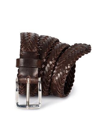 Leather plaited belt