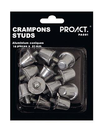 PACK of 16 conical aluminium studs
