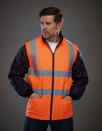 Hi-Vis Quilted Jacket with Detachable Sleeves